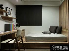 后现代风格书房榻榻米床图片