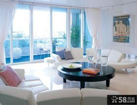 阳台装修效果图大全2012图片 客厅白色沙发图片