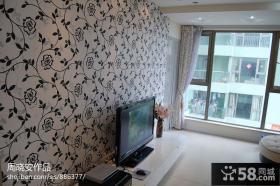 客厅电视背景墙花纹壁纸图片