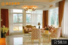 欧式田园风格客厅设计效果图