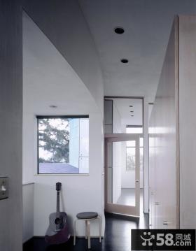 别墅现代简约风格过道休闲区效果图
