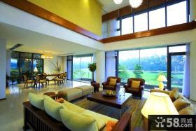 别墅客厅实木沙发茶几图片