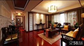 中式风格80平米一居客厅吊顶效果图