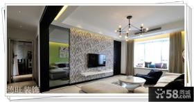 客厅黑白条纹电视背景墙装修效果图大全2013图片