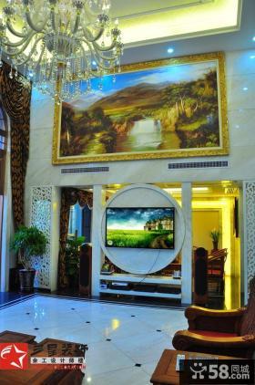 混搭风格豪华别墅客厅背景墙装饰效果图