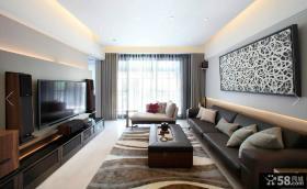 现代风格二居卧室落地窗帘效果图