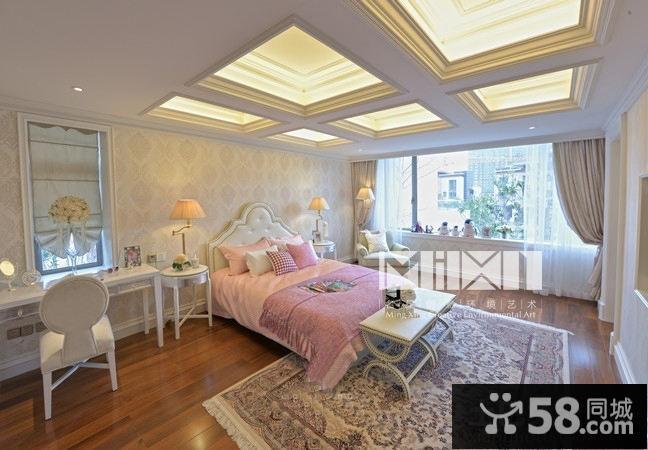 欧式卧室方块吊顶装修效果图