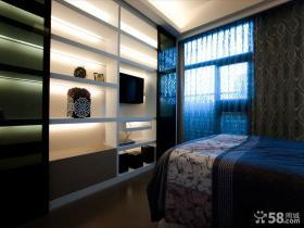 现代家庭设计卧室电视背景墙图片