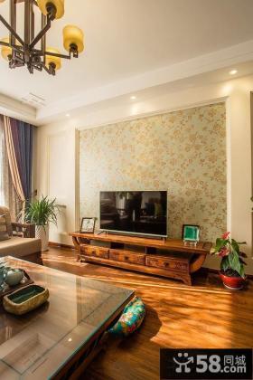 中式田园客厅电视背景墙设计