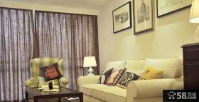 美式风格客厅窗帘装修效果图片
