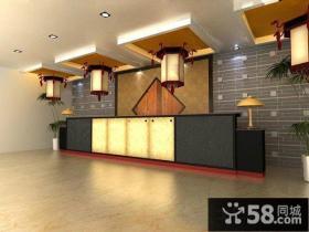简约中式风格宾馆吧台装修效果图