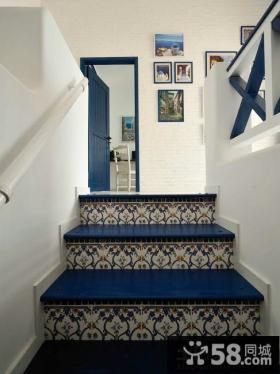 地中海风格楼梯腰线砖装饰效果图