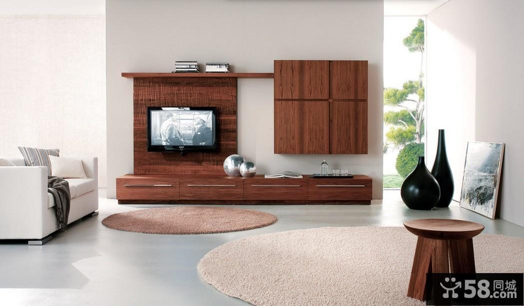 实木客厅电视背景墙效果图大全