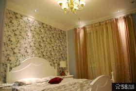 卧室床头碎花壁纸图片欣赏