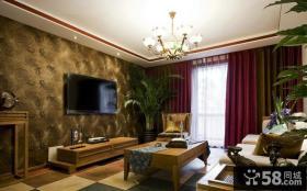 混搭中式客厅电视背景墙效果图大全