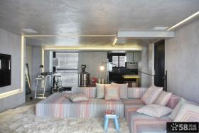冷色调客厅布艺沙发装饰图片