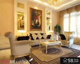 欧式客厅沙发背景墙装饰挂画效果图