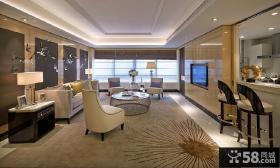 现代美式风格客厅电视背景墙装修效果图
