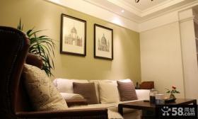 简约家居风格二居客厅沙发背景墙装饰画