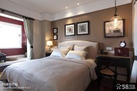 现代美式风格卧室软床效果图