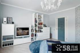 70平清新小户型客厅电视背景墙装修效果图大全2014图片
