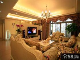 欧式田园风格客厅电视背景墙装修效果图欣赏