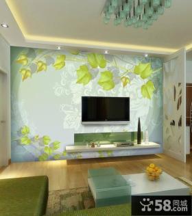 手绘电视背景墙设计图片