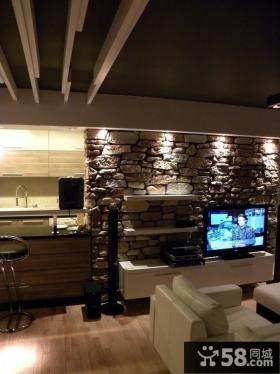 美式风格创意石块电视背景墙装修效果图