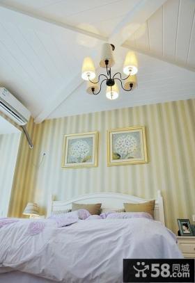 温馨卧室装修条纹壁纸效果图片