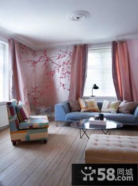 灰白北欧风格别墅客厅彩绘背景墙图片