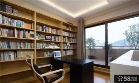 中式现代别墅室内书房设计效果图
