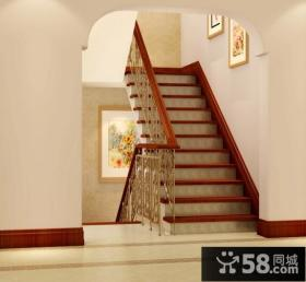 美式别墅楼梯过道装修效果图大全2013图片