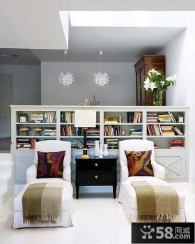 白色简约的复式楼书房吊顶装修效果图大全2014图片