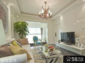 欧式新古典风格客厅瓷砖电视背景墙效果图