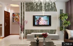 现代客厅电视背景墙壁纸效果图片