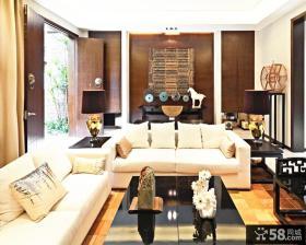 中式古典风格客厅沙发背景墙效果图