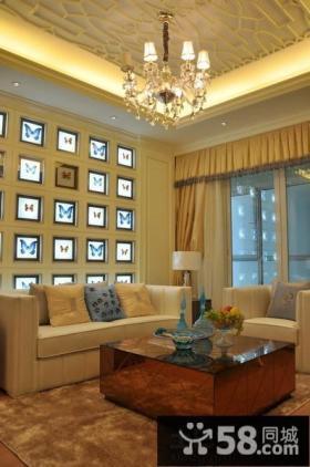 欧式二居客厅沙发背景墙效果图