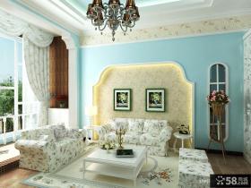 小复式楼地中海风格客厅电视背景墙装修效果图