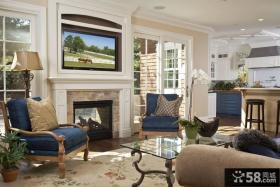美式风格室内客厅电视背景墙效果图