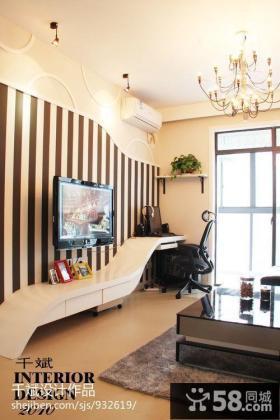 现代简约客厅电视机壁纸背景墙效果图欣赏