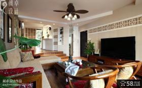 新中式两室两厅客厅装修效果图
