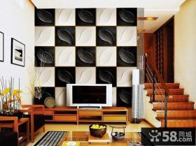 复式楼客厅魔块电视背景墙效果图