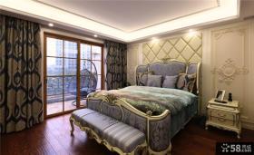 豪华欧式蓝色卧室布置