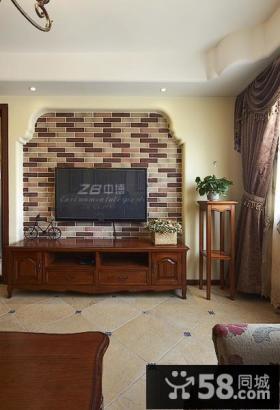 美式田园风格电视墙效果图大全