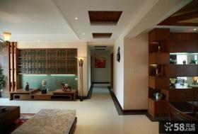 东南亚风格室内过道吊顶设计图片