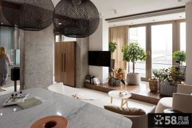 90平米田园简约风格两室一厅客厅阳台装修效果图