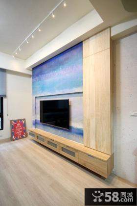 现代日式风格室内电视背景墙图