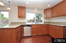 美式风格U型厨房整体实木橱柜效果图