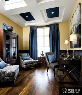 欧式别墅客厅高窗窗帘效果图