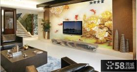 复式楼客厅电视背景墙壁画图片